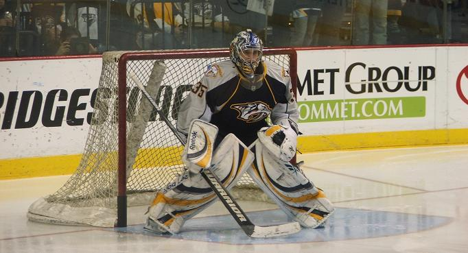 Pekka Rinne of the Nashville Predators was left off Finland's 2010 Olympic roster.