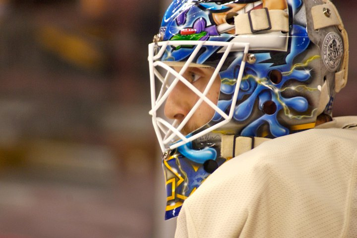 Mark Dekanich made 7 saves for the Western Conference and earned a TSN highlight, but was still racked with the loss. (CREDIT: Sarah Fuqua)