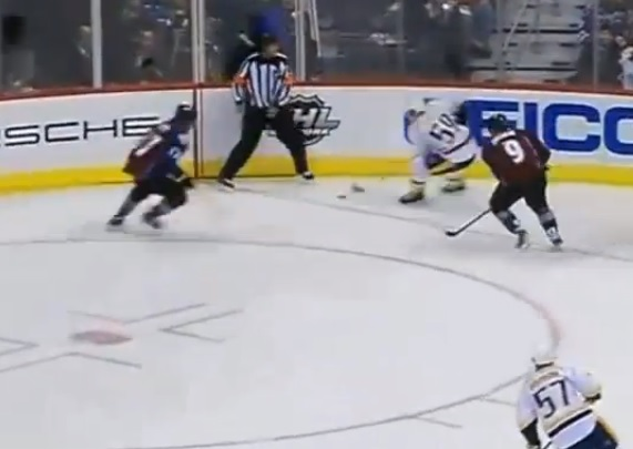 Downie Josi hit (screen cap)